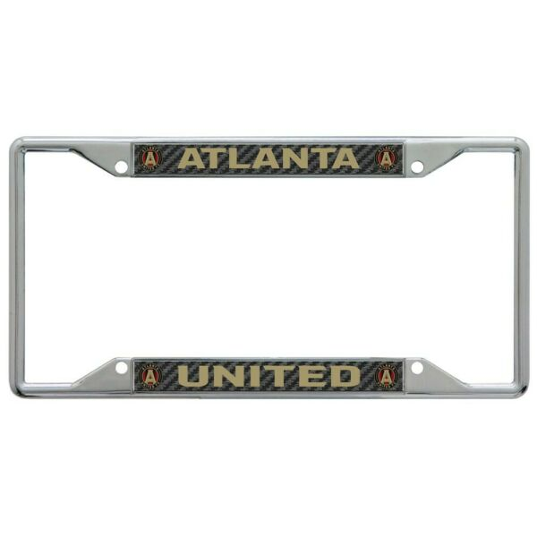 ATLANTA UNITED FC CARBON BACKGROUND 6quot;X12quot; METAL LICENSE PLATE FRAME WINCRAFT $20.00