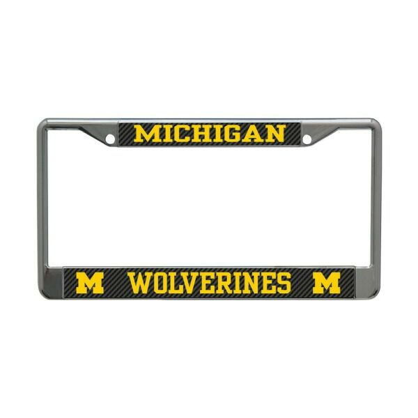 MICHIGAN WOLVERINES CARBON BACKGROUND 6quot;X12quot; METAL LICENSE PLATE FRAME WINCRAFT $20.00