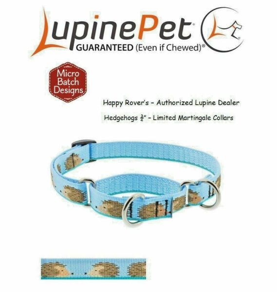 Lupine Lifetime Training Martingale Dog Collar 3 4quot; LIMITED PATTERN HEDGEHOGS $16.43