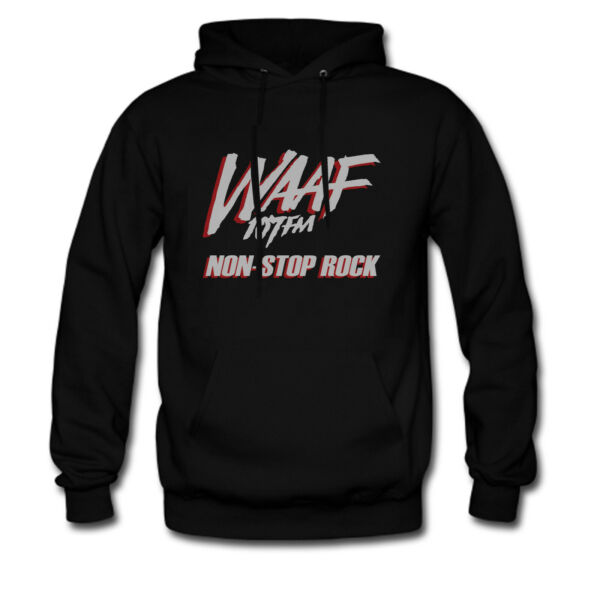 new WAAF 107 Radio Station vintage 1985 Non-Stop Rock Hoodie Sweat shirt XS-2XL