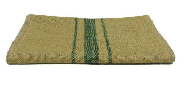 Green Vintage grain sack stripe 12quot; x 108quot; Burlap Table Runner fringe edges