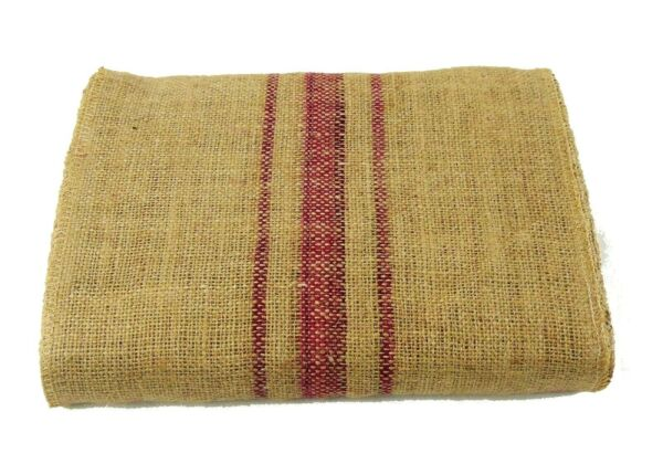 Magenta Vintage grain sack stripe 12quot; x 108quot; Burlap Table Runner fringe edges