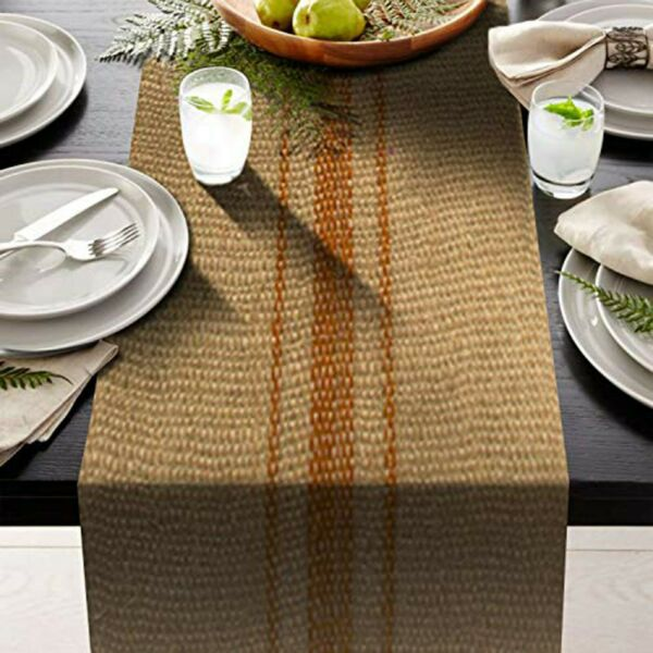 Orange Vintage grain sack stripe 12quot; x 108quot; Burlap Table Runner fringe edges