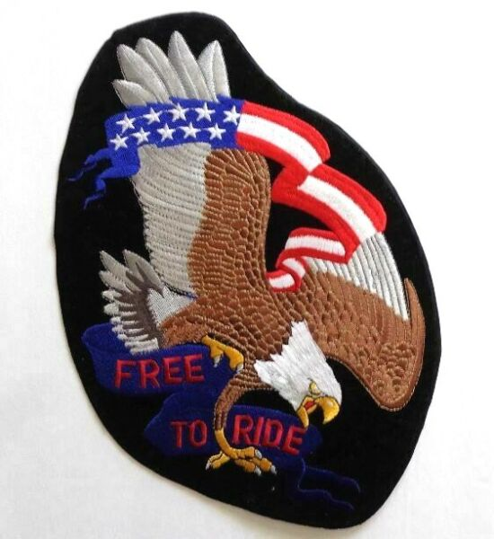 #x27;Free To Ride#x27; Eagle American Flag Velour Embroidered 11.5quot; Patch Motorcycle