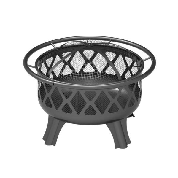 Hampton Bay 30 in. Round Steel Patio Backyard Wood Burning Fire Pit