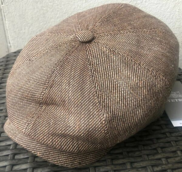 STETSON 100% Linen Brown Gold Peaky Blinders Cap Newsboy Large 59cm Gatsby Hat L