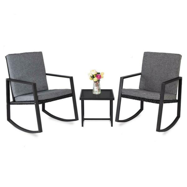 Patio Bistro Set 3 PCS Outdoor Rocking Chair Rattan Conversation Sets Wicker