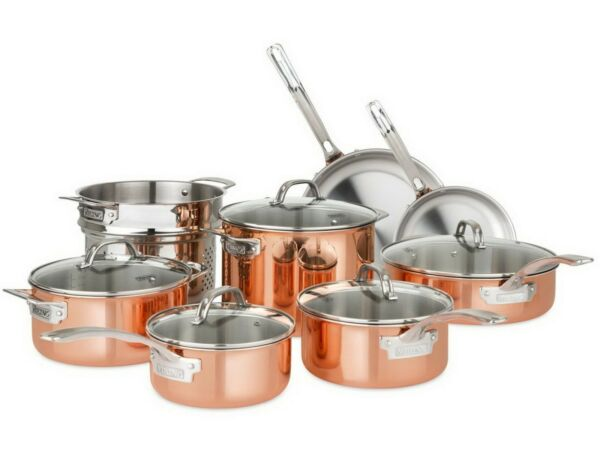Copper Cookware Set 13 Piece Tri Ply 18 8 Stainless Steel Glass Lids Viking