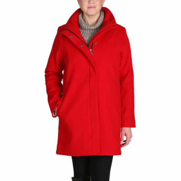 NWT Pendleton Women#x27;s SMALL Water Resistant Wool Jacket RED Glacier Stripe Coat $56.00