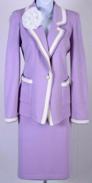 ST.JOHN Collection Womens Suit Knit Purple White Flower Jacket amp; Skirt Sz 10