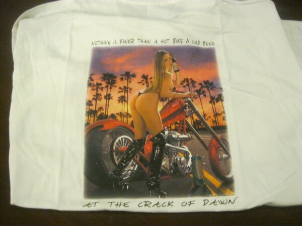 Crack of Dawn White T SHIRT quot;NOTHING FINER THEN A HOT BIKE amp; COLD BEER LARGE $4.00