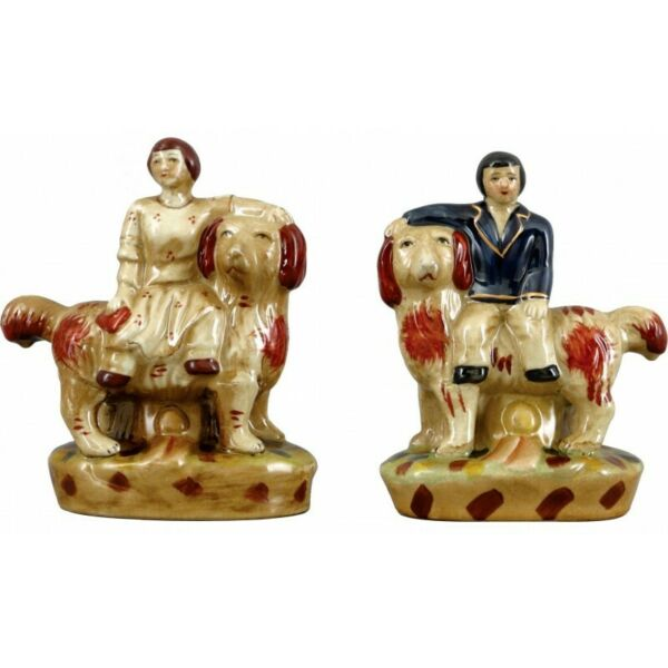 Staffordshire Reproduction Lion Dogs With Man amp; Woman Figurines Set of 2 $69.99