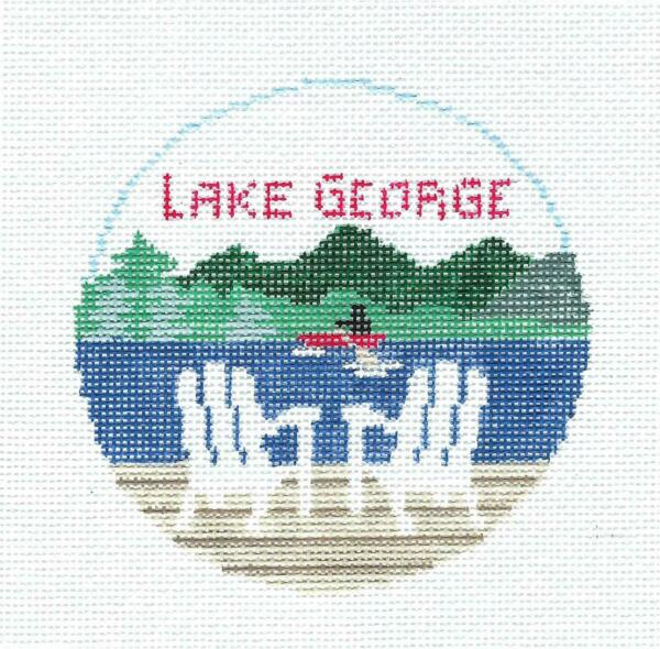 LAKE GEORGE NEW YORK Needlepoint Ornament handpainted Canvas Kathy Schenkel RD.
