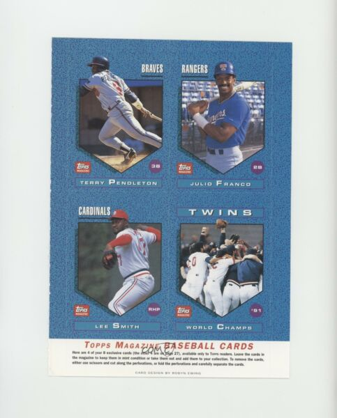 1990 Topps Magazine Cards Full Sheets Terry Pendleton Julio Franco Lee Smith HOF