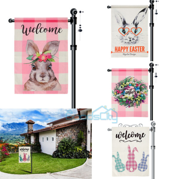 2 Sided Happy Easter Garden Flag 12.5 x 18 Inch Sping Burlap Yard Outdoor Decor