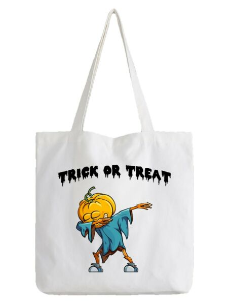 Halloween Pumpkin Trick Or Treat White Tote Bag Cool Shopper Scary Kids Sweets