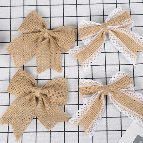 CW 10Pcs Burlap Bowknot Bow Rustic Wedding Party Hat Clothes Gift Craft Decor