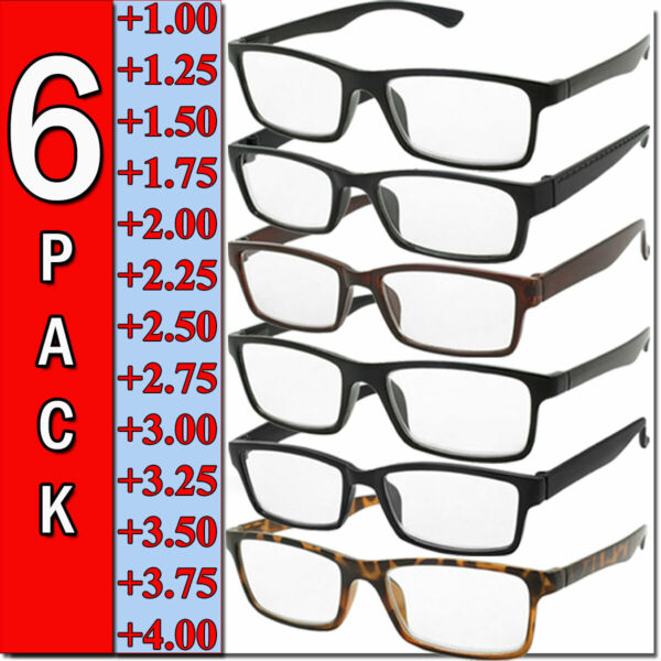 Mens Womens Reading Glasses 6 Pairs Square Frame Readers Unisex Style Specs NEW  $11.95