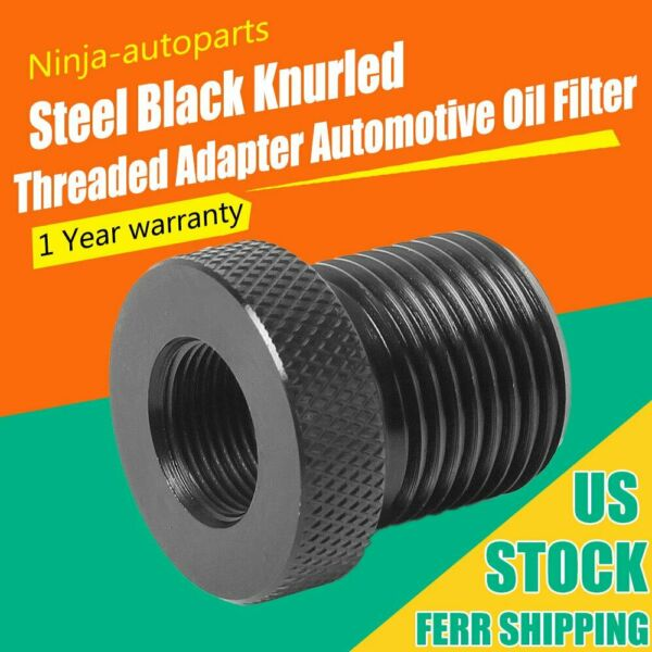 1x Black Steel 1 2 28 to 3 4 16 Oil Filter Threaded Screw Adapter New