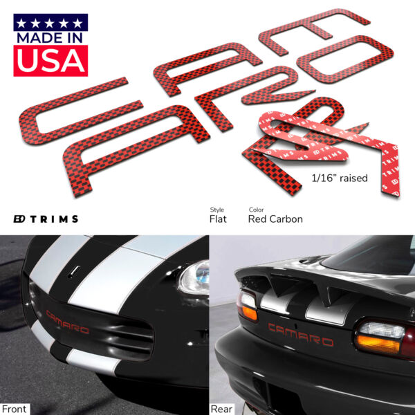 Red Carbon Plastic Letters fits Chevrolet Camaro 1993 2002 Rear amp; Front Bumper $19.95