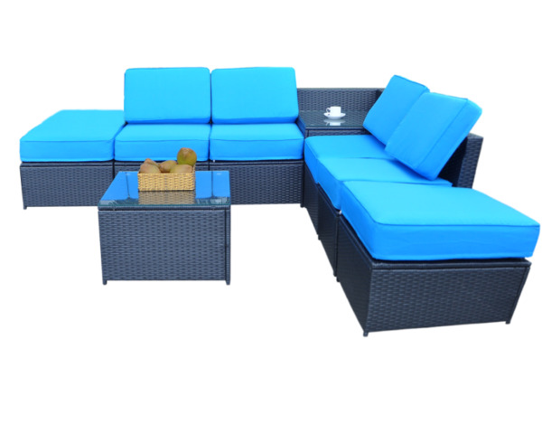 MCombo Outdoor Patio Black Wicker Furniture Sectional Set 6085 1008A6 $699.99