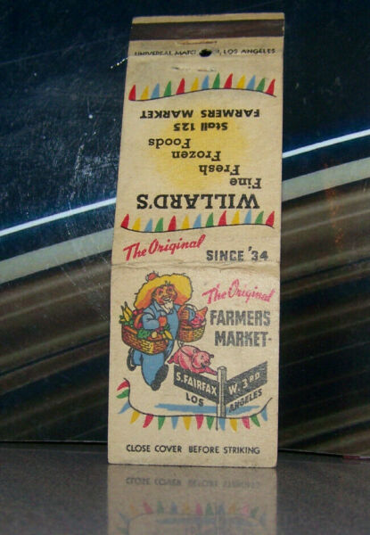 Vintage Matchbook Cover H4 Los Angeles California Willard's Farmer's Market Stal