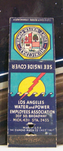Rare Vintage Matchbook Cover K2 California Los Angeles Water Power Employees