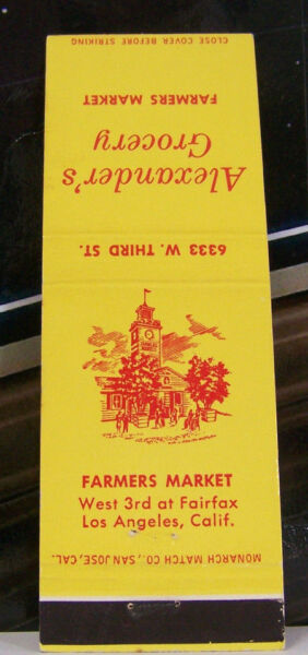 Rare Vintage Matchbook Cover K2 California Los Angeles Farmers Market Alexander