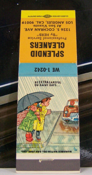 Rare Vintage Matchbook Cover K2 California Los Angeles Splendid Cleaners Umbrell