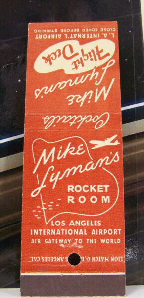 Rare Vintage Matchbook Cover K2 California Los Angeles Mike Lymans Rocket Plane