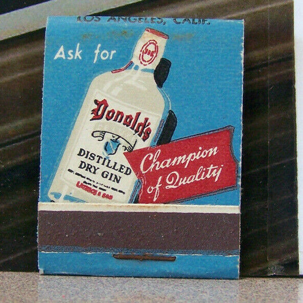 Vintage Matchbook Circa 1940 G9 Los Angeles California Donald Cherry Brandy Gin