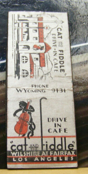 Rare Vintage Matchbook Cover Z8 Los Angeles California Cat Fiddle Music Kitty