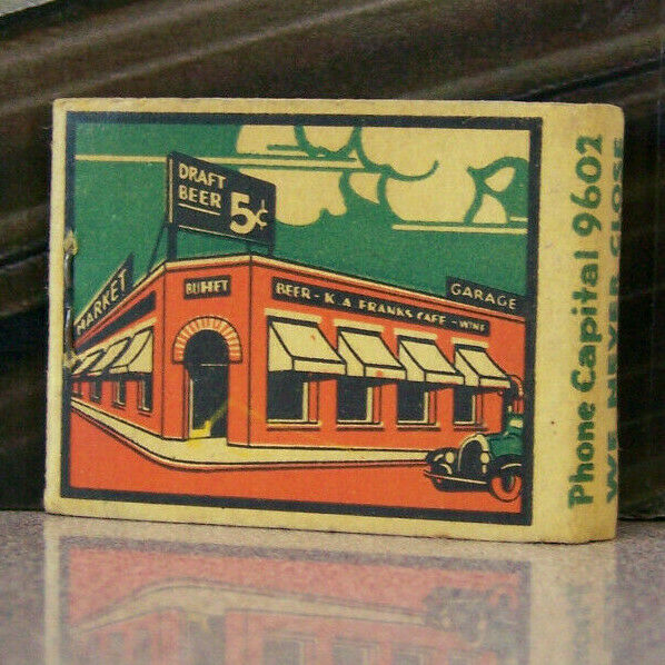 Vintage Matchbook K6 Los Angeles California 5c Beer K A Frank Cafe Car French