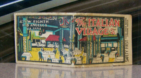 Vintage Matchbook K6 Los Angeles California Italian Village Colorful Cafe Dance