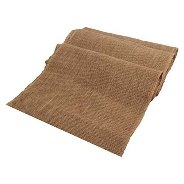 Burlap Table Runner with fringe drop Edges 14quot; X 108quot; tan compact tight weaved