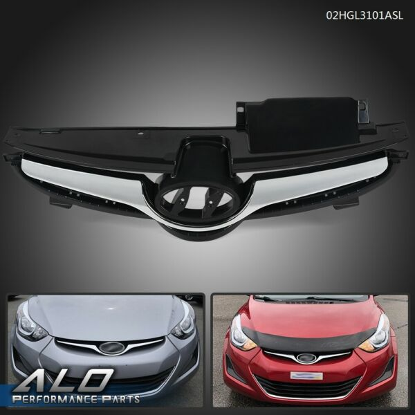 For Hyundai Elantra 2014 2015 2016 With Chrome Front Bumper Grill Grille Balck