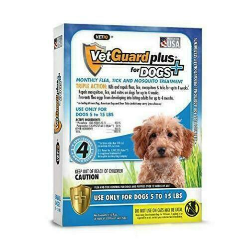 4 Months Flea &Tick Control Drops for Small Dogs 5-15 LBS Vetguard Plus BEST $19.99