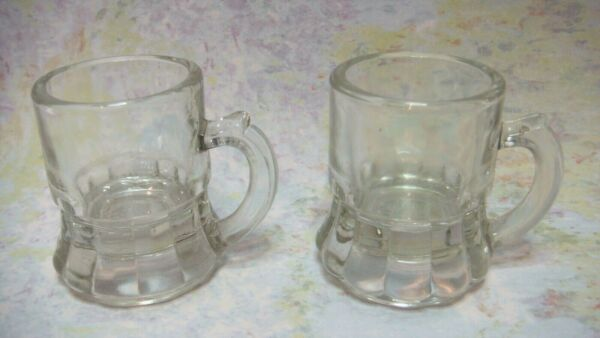 VINTAGE CLEAR GLASS STEIN MINIATURE BEER SHOT MUG HANDLE FEDERAL BAR WARE LOT 2