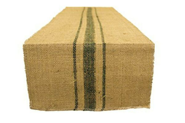 Green Vintage grain sack stripe 12quot; x 72quot; Burlap Table Runner fringe edges