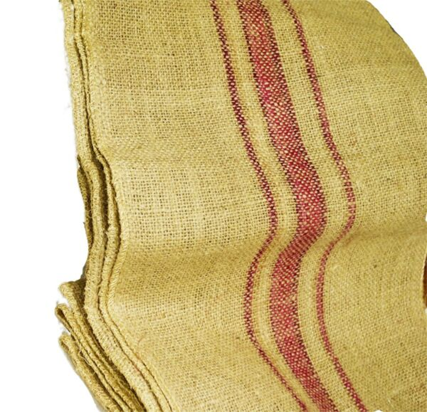 Magenta Vintage grain sack stripe 12quot; x 72quot; Burlap Table Runner fringe edges