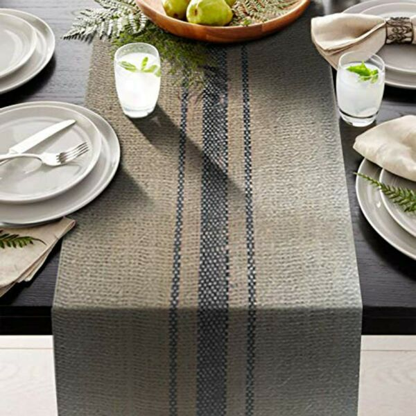 3 blue stripes Vintage grain sack 12quot; x 72quot; Burlap Table Runner fringe edges