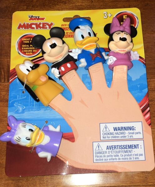 Set of 5 Disney Junior Mickey Mouse Clubhouse Finger Puppets Bath Toys New