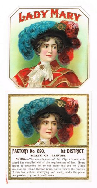 2 CIGAR BOX LABEL VINTAGE OUTER CHROMOLITHOGRAPHY 1910 LADY MARY ILLINOIS PAIR