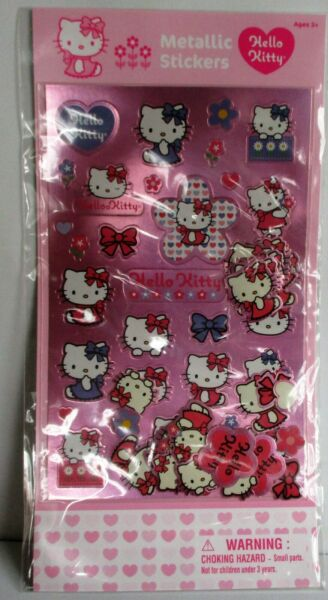 SANRIO LOT OF 4 quot;HELLO KITTYquot; METALLIC STICKERS. NEW IN PACKAGE.