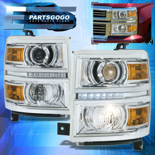 For 14-15 Chevy Silverado 1500 Chrome Housing Amber Projector LED DRL Headlights