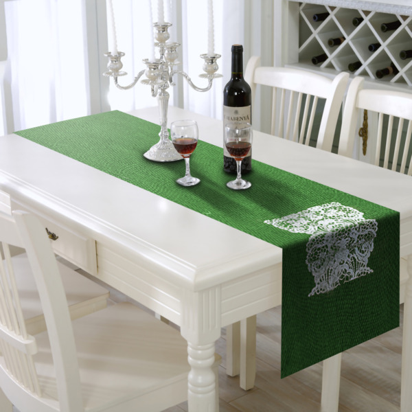 Burlap Table Runner with green drop Edges 12quot; X 108quot; compact tight weaved prin