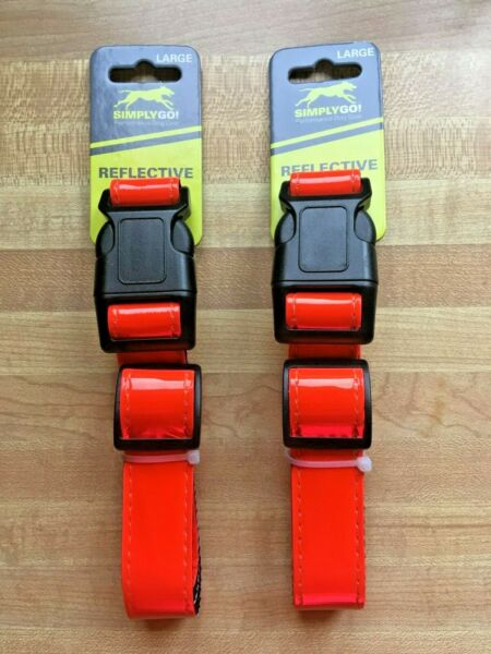 $LOT OF 2$ SIMPLY GO REFLECTIVE DOG COLLAR Size Large Performance Dog Gear $11.98