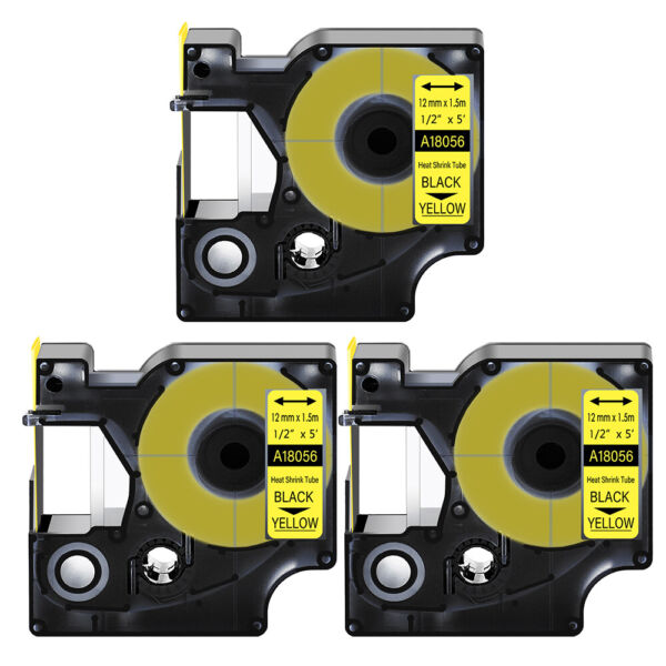 3 Heat Shrink Tube Label IND Tape Black on Yellow 18056 For Dymo Rhino 4200 1 2quot; $18.99