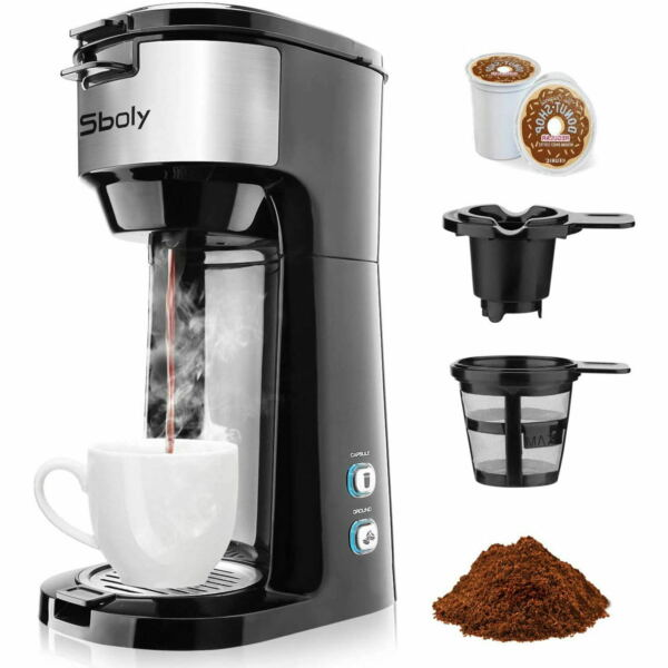 Single Serve Coffee Maker Brewer K Cup Pod amp;Ground Coffee Self Cleaning by Sboly