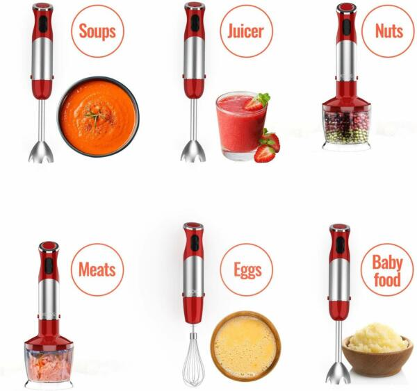 Powerful 500W 4 in 1 Hand Immersion Blender Set 12 Speeds 304 Stainless Stick $38.69